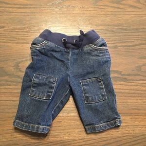 Hanna Andersson Baby Patchwork Jeans SZ 50= 0- 3 M